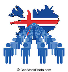 people with Iceland map flag