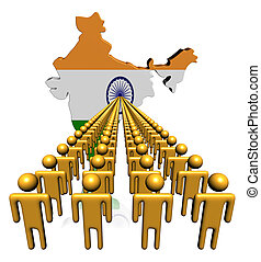 Lines of people with India map flag illustration