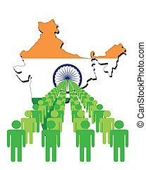 Lines of people with India map flag vector illustration