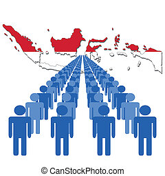 people with Indonesia map flag
