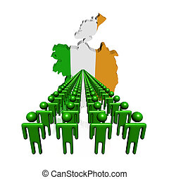 Lines of people with Ireland map flag illustration
