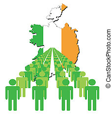 people with Ireland map flag