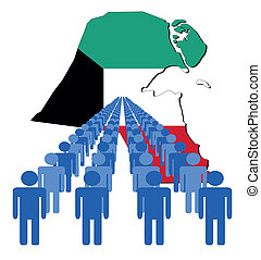 people with kuwait map flag