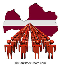 Lines of people with Latvia map flag illustration