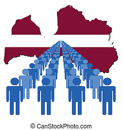 people with Latvia map flag