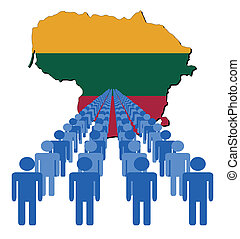 people with Lithuania map flag