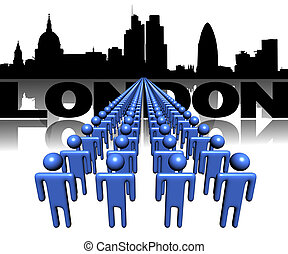 Lines of people with London skyline illustration