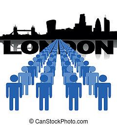 people with London skyline