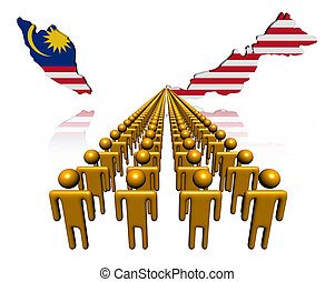 Lines of people with Malaysia map flag illustration