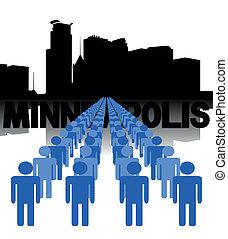 people with Minneapolis skyline