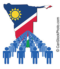people with Namibia map flag