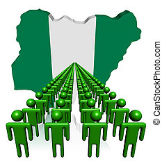 Lines of people with Nigeria map flag illustration
