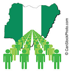 people with Nigeria map flag