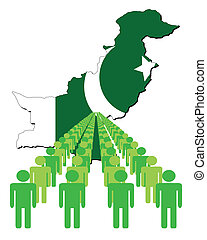 people with Pakistan map flag