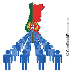 people with Portugal map flag