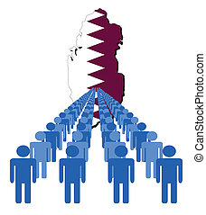 people with Qatar map flag