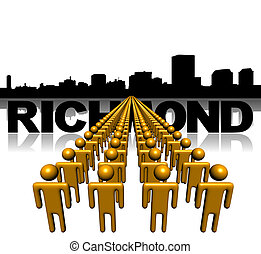 Lines of people with Richmond skyline illustration