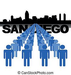 people with San Diego skyline