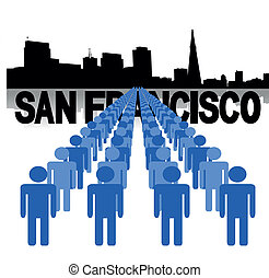 people with San Francisco skyline