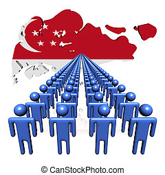 Lines of people with Singapore map flag illustration