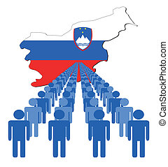 people with Slovenia map flag
