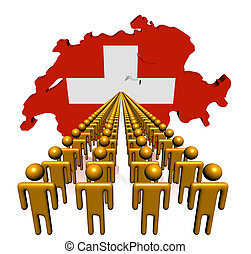 Lines of people with Switzerland map flag illustration