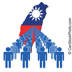 people with Taiwan map flag