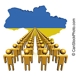 Lines of people with Ukraine map flag illustration