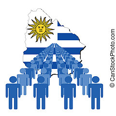 people with Uruguay map flag