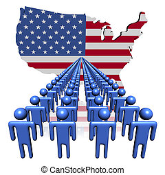 Lines of people with USA map flag illustration