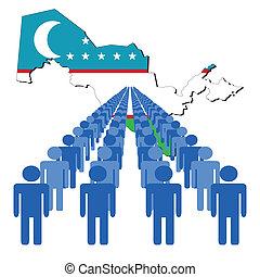 people with Uzbekistan map flag