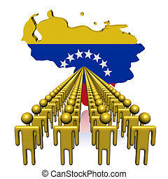 Lines of people with Venezuela map flag illustration