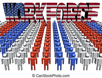 people with workforce American flag text