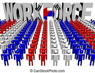 people with workforce Korean flag text illustration