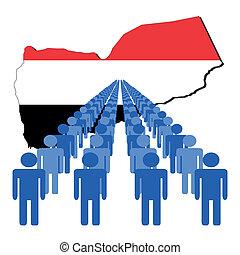 people with Yemen map flag