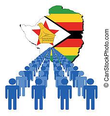 people with Zimbabwe map flag