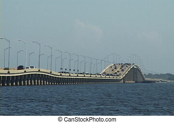 Pensacola Bay Bridge - Lines of traffic move across...