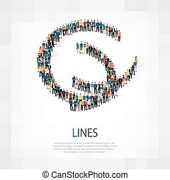 lines people sign 3d