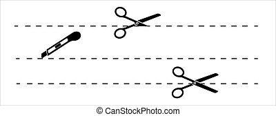 lines., stroke., taglio, punteggiato, scissors., carta, forbici, set, icona, linee, vettore, linea., editable, modify., taglio, facile, forbici