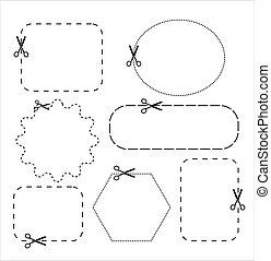 lines., taglio, punteggiato, scissors., carta, forbici, set, icona, vettore, linea., taglio, illustration.