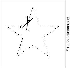lines., taglio, punteggiato, scissors., carta, forbici, set, icona, vettore, linea., usando, troncare, forma stella