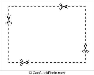 lines., taglio, punteggiato, scissors., carta, forbici, set, icona, vettore, linea., usando, troncare, forma