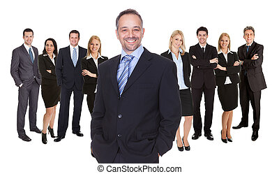 Lineup of diverse professional business executives or partners standing relaxed isolated on white
