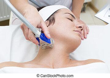 linfático, apparatu, masaje, drenaje