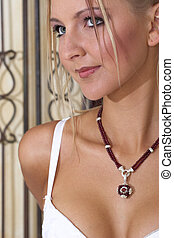 Lingerie #10 - Blonde Woman with red necklace in lingerie