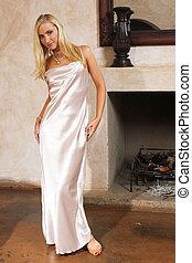 Lingerie #16 - Blonde woman in silk negligee