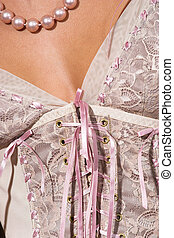 Lingerie #19 - Lace up pink lingerie and pearls
