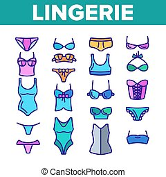 Lingerie Accessories Items Linear Vector Icons Set