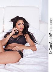 lingerie, belle femme, noir