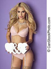 lingerie., biondo, donna, proposta, sexy